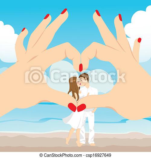 Beach Kiss Love Heart - csp16927649
