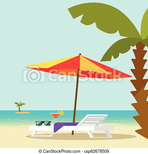 Beach lounge chair near sea and sun umbrella and palm vector illustration, flat cartoon seafront resort landscape with beach sand and island on horizon, concept of vocation travel relax place - csp62678509