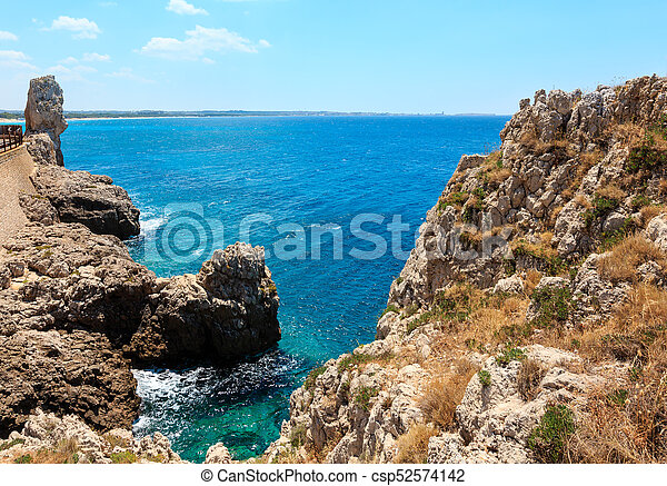 Beach montagna spaccata, salento, italy. Picturesque ionian... stock ...