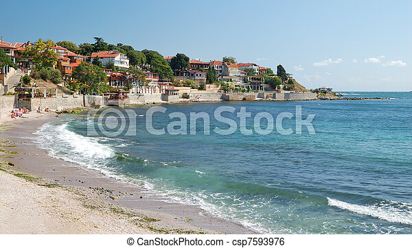 Beach on the Black Sea in Nessebar, Bulgaria - csp7593976
