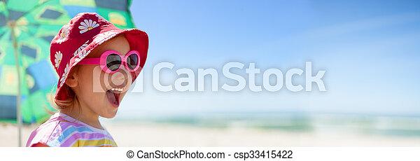 beach panoramic child happy summer vacations - csp33415422