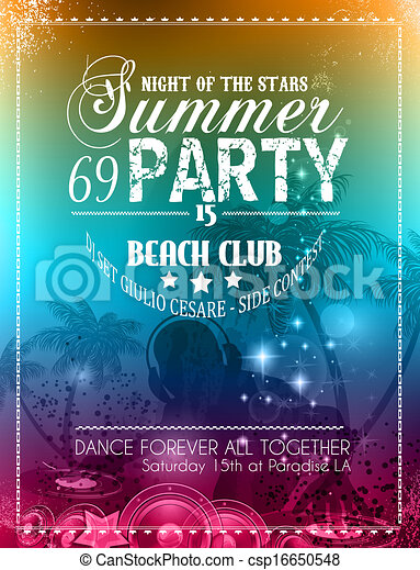 Beach Party Flyer For Your Latin Music Event Or Poster Drawing