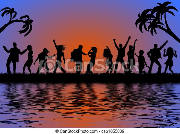 beach party in sunset - csp1855009