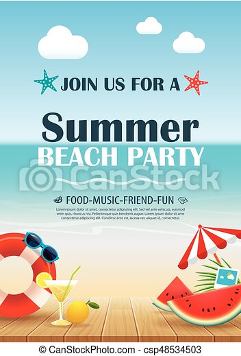 Beach party invitation poster with vacation element wooden vector