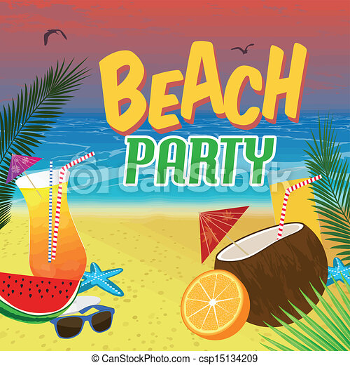 beach party poster background with palm leaves and cocktails over a rh canstockphoto com beach party clipart black and white summer beach party clipart