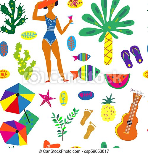 Beach party seamless pattern illustration - csp59053817