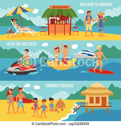 Beach People Set Horizontal Banner With Family