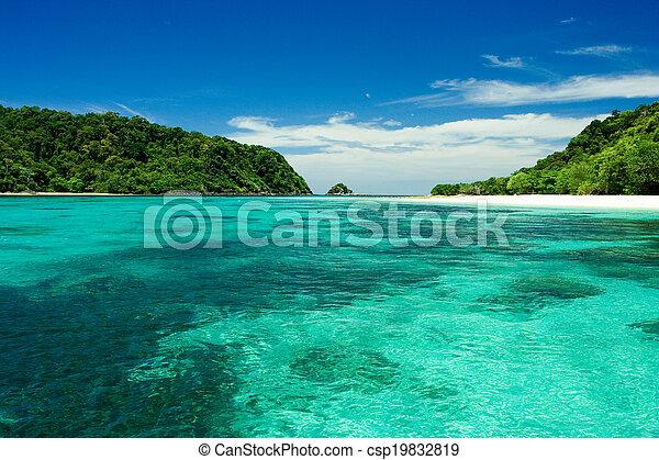 Beach, sand, sea in paradise island - csp19832819