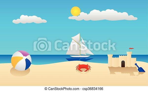 beach scene summer at the beach with a crab beach ball sandcastle rh canstockphoto com palm tree beach scene clipart beach scene clipart black and white