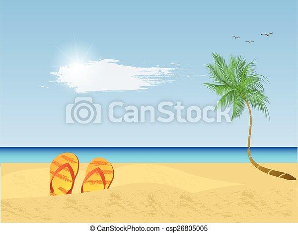 beach scene illustration illustration of a colorful beach scene rh canstockphoto com palm tree beach scene clipart palm tree beach scene clipart
