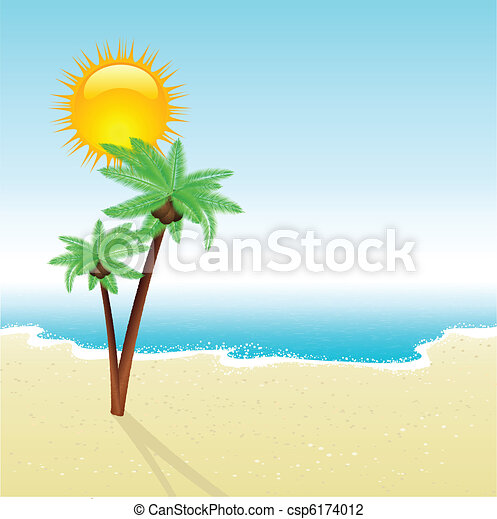 Beach Scene Tropical Scene With Detailed Palm Trees On A