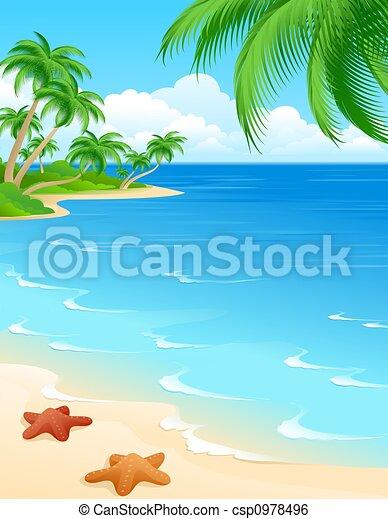 Beach Scene Background With Starfish And Palms