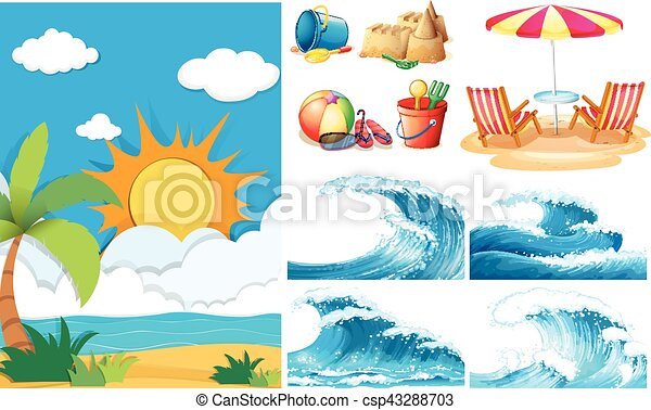 Beach Scene With Big Waves And Equipments Vector