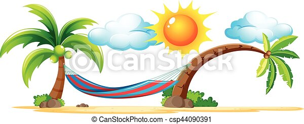 beach scene with hammock on coconut trees illustration rh canstockphoto com beach scene clipart black and white beach scene clipart free