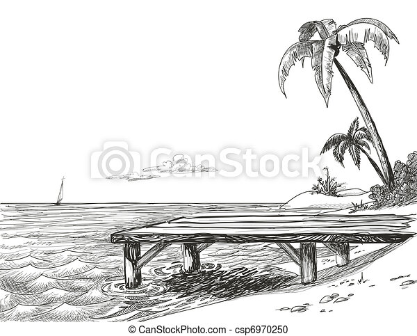 Beach, sea and wooden jetty  - csp6970250