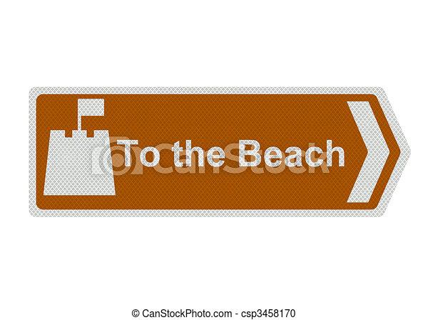 beach\', signe, photo, \'to, isolé, réaliste - csp3458170