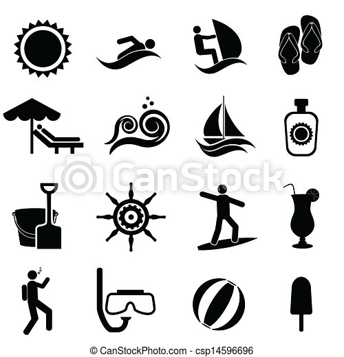 Beach Summer Travel And Nautical Icon Set