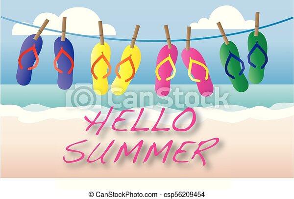 beach summer vacation header or banner - csp56209454