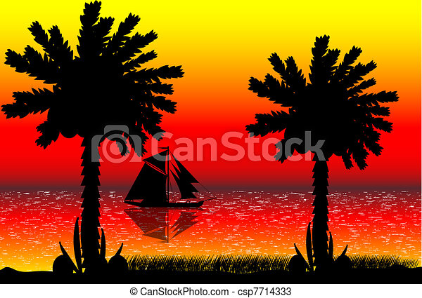 Beach Sunset Vector Illustration Of Tropical