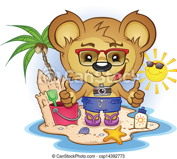 Beach Teddy Bear Cartoon Character - csp14392773