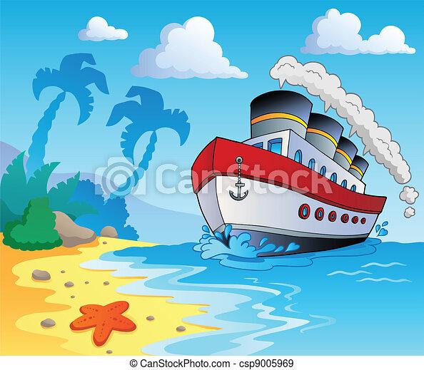 Beach theme scenery 5 vector illustration