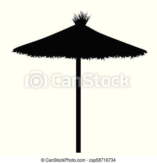 823da44e8f8f5 Beach umbrella silhouette on white background, vector illustration.