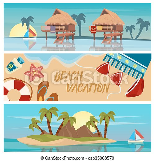 Beach Vacation Horizontal Banners Set With Bungalows And Tropical Island Vector