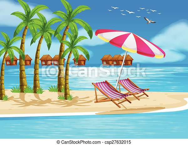 Beach Illustration Of View With Cottages Vector Clip Art