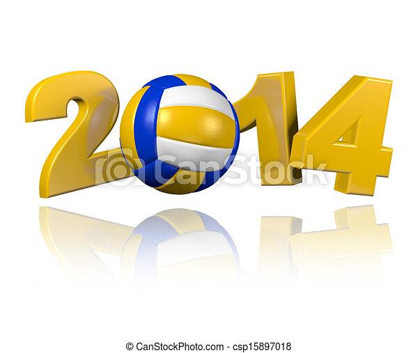 Beach Volleyball 2014 design - csp15897018