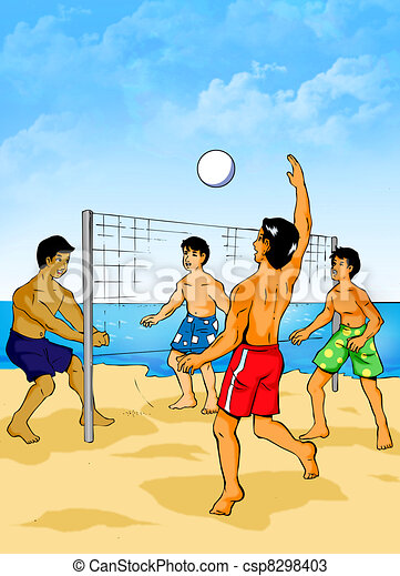 Illustration Of People Playing Beach Volleyball Drawings