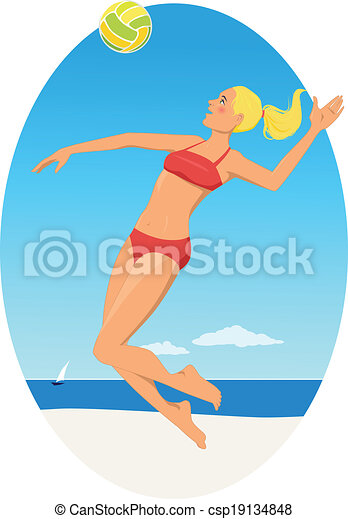 beach volleyball young blond woman in red bikini playing eps rh canstockphoto ca