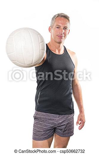 Beach volleyball player Studio shot over white - csp50662732