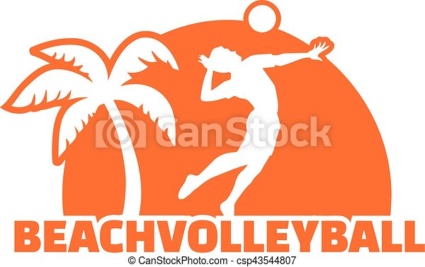 beach volleyball player with palm vector clipart search rh canstockphoto com sand volleyball clipart