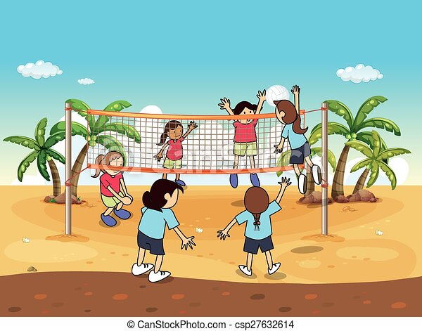 Beach Volleyball People Playing On The Vector