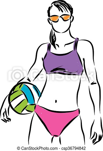 beach volleyball woman modeling illustration eps vector search rh canstockphoto com beach volleyball clipart png