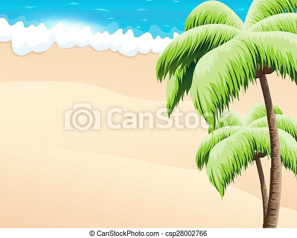 Beach with palm trees  - csp28002766