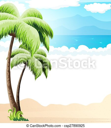 Beach with palm trees  - csp27890925