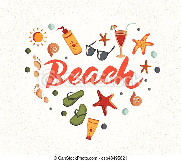 50a66ce6730b Beach word with summer elements. sunscreen