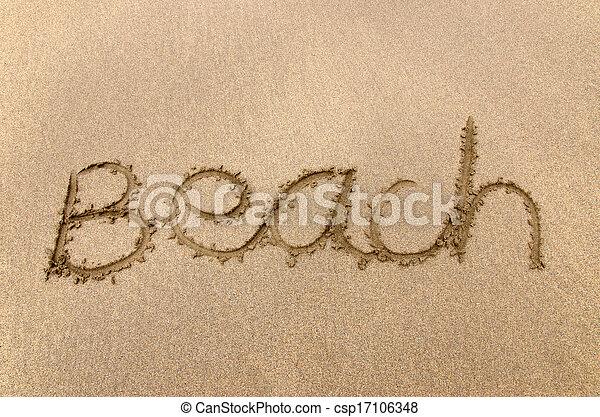 Beach written in sand - csp17106348