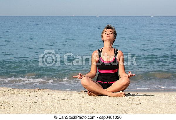 Beach yoga - csp0481026