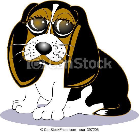 beagle, art, chien, agrafe, dessin animé - csp1397205