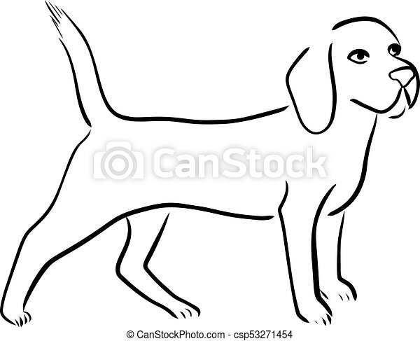 outline isolated illustration of beagle dog breed clipart vector rh canstockphoto com boxer dog outline clip art