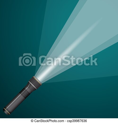 beam of light from a flashlight. Black and metal. - csp39987636