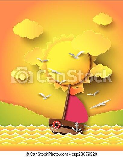 beam., słońce, chmury, łódka, nawigacja - csp23079320