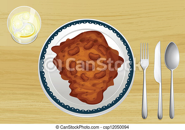 Bean dish on a wooden table - csp12050094