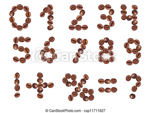 Números y señales de granos de café. - csp11711627