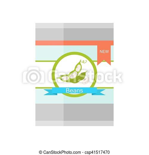 Ilustración de vector de estaño con frijoles de riñón. - csp41517470