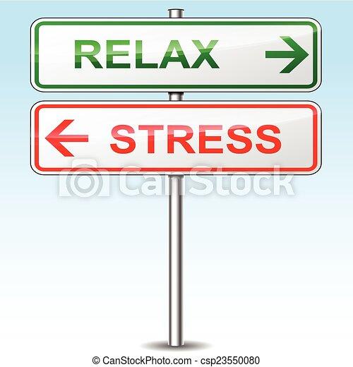 Stress und entspannen Richtungsschilder - csp23550080