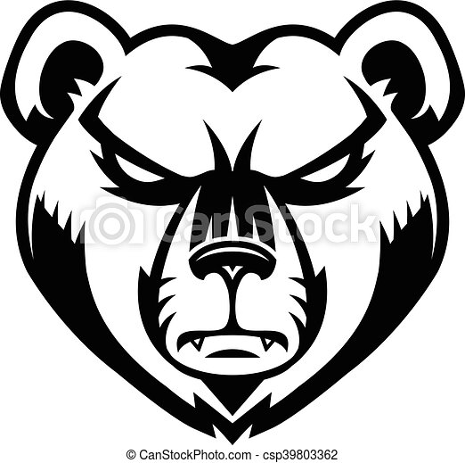 Grizzly bear sports mascot angry face. Bear grizzly angry sports ...