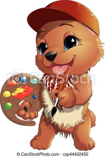 Bear artist in a cap - csp44402450